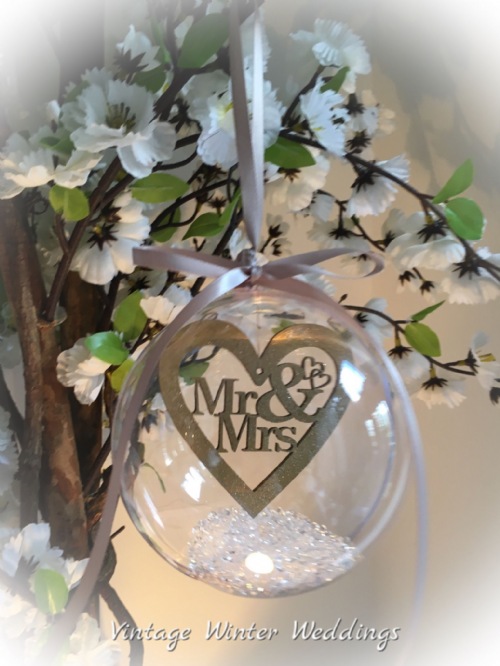 Mrs & Mrs bauble keepsake